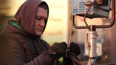 Lighting mounts lighting equipment. Film production - stock footage