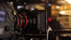 The camera stands on the set of the movie. Film production Stock Footage