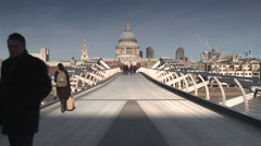 Millennium Bridge London St Pauls Cathedral - stock footage