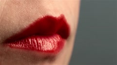Red female woman mouth lips sexy suck a lollipop. Erotic scene. Licked Stock Footage