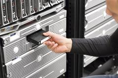 It consultant work with backup in datacenter Stock Photos