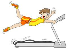 Too fast treadmill workout Stock Illustration