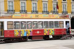 Portugal, the touristy old tramway in Lisbon - stock photo