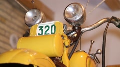 Vintage motorbike, handlebars and headlights Stock Footage