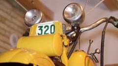 Vintage motorbike, handlebars and headlights - stock footage