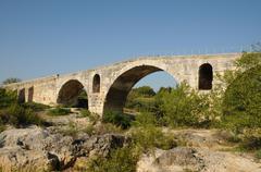 Julien bridge in Bonnieux in Provence - stock photo