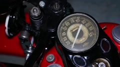Old motorcycle, speedometer close up Stock Footage