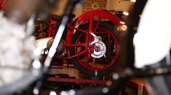 Old motorcycle, wheel in focus in second plan Stock Footage