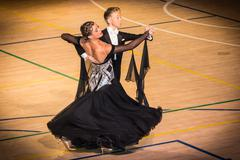Competitors dancing slow waltz on  the dance conquest - stock photo