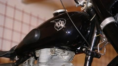 Black vintage motorcycle, reservoir Stock Footage
