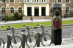 velib in Paris, public bicycle rental - stock photo
