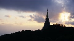 Cloud movement over the pagoda on mountain Stock Footage