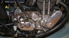 Engine of a vintage motorbike Stock Footage