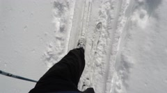 Cross country skiing in winter snow - stock footage
