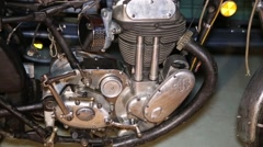 Engine of an old motorcycle Stock Footage