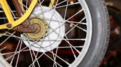 Vintage motorcycle front wheel close up Stock Footage