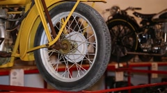 Front wheel of a vintage motorcycle Stock Footage