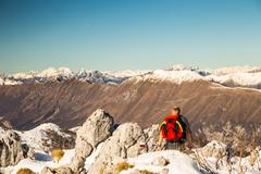 Man admiring the alps Stock Photos