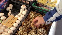 Hands of the buyer with mushrooms on the Campo de' Fiori food market. Stock Footage