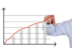 Businessman showing a business analysis, success growth chart - stock illustration