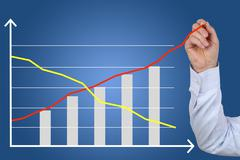 Businessman drawing a business cost success growth chart - stock illustration