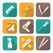 Hairdresser tools white flat style icons set. Stock Illustration