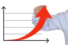Businessman showing a successful rising up business growth chart - stock illustration