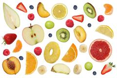 Collage of flying fruits like apples fruit, oranges, banana and strawberry Stock Photos