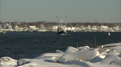 Fishing Boat after new snow Stock Footage