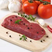 Raw beef meat steak on cutting board Stock Photos