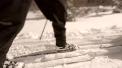 Gimbal shot of cross country skiing in winter snow Stock Footage