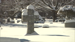 Cemetery and new fallen snow Stock Footage