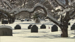 Cemetery with snow Stock Footage