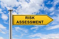 yellow road sign with risk assessment words - stock photo