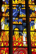 Sweden, stained glass window of the cathedral of Visby - stock photo