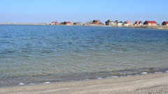 Beautiful houses against the sea Stock Footage