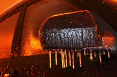 Hoarfrost on a car Stock Photos