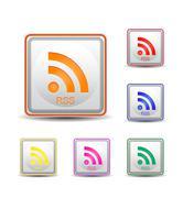 square rss orange and white color - stock illustration