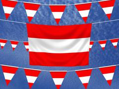Austrian Flags - stock illustration