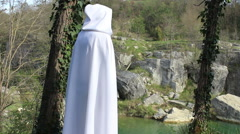 Druid and waterfall - stock footage