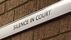 Silence in Court sign - stock footage