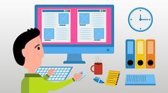 Web designer work on computer. - stock illustration