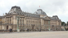 Royal Palace bulding facade in Brussels, Belgium - stock footage