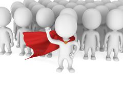 Brave superhero with red cloak before a crowd Stock Illustration