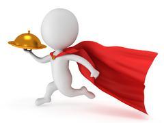 Brave superhero waiter with gold tray Stock Illustration