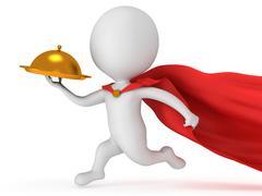 Stock Illustration of Brave superhero waiter with gold tray