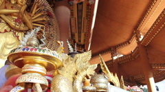 Big statue of a Thousand Hands Guanyin in chinese temple Stock Footage