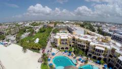 Decending  aerial shot of Playa del Carmen Stock Footage