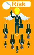 Glory Businessmen flying with a wings - stock illustration