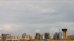 Sde Dov airport on New Tel Aviv background.  Time lapse Stock Footage